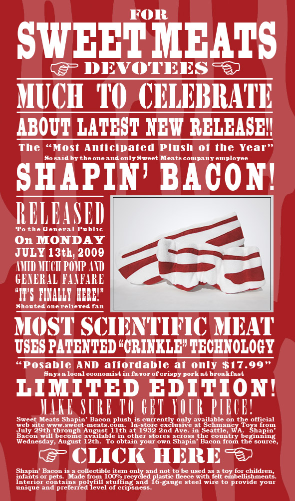sweet meats shapin' bacon plush newsletter